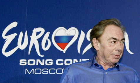 English composer Andrew Lloyd Webber attends a news conference ahead of the Eurovision Song Contest final in Moscow May 15, 2009. REUTERS/Se