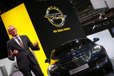 Karl-Thomas Neumann, CEO of Adam Opel AG, presents the new Opel Insignia car during a media preview day at the Frankfurt Motor Show (IAA) Se