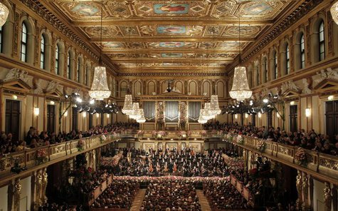 The Vienna Philharmonic Orchestra during the traditional New Year's Concert in the Golden Hall of the Vienna Musikverein in Vienna January 1