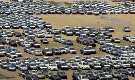 New cars sit in the lot at the Boston Autoport, which handles automobile import, processing and distribution for approximately 50,000 cars p