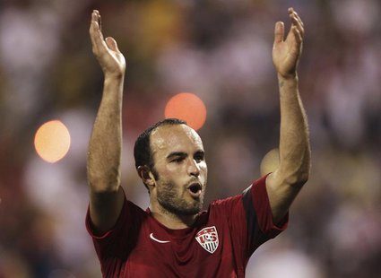 United States' Landon Donovan celebrates after their 2-0 victory over Mexico in their FIFA World Cup qualifying soccer match in Columbus, Oh