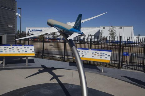 A model of the 787 Dreamliner is seen at the welcome center for South Carolina Boeing in North Charleston, South Carolina December 19, 2013.