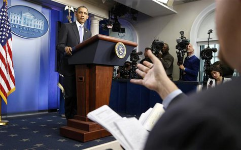 U.S. President Barack Obama holds his year-end news conference in the Brady Press Briefing Room in the White House in Washington December 20