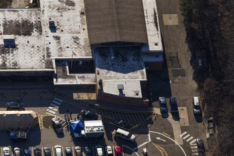 An aerial photo shows the front of Sandy Hook Elementary School in Newtown, Connecticut on December 15, 2012. REUTERS/Adrees Latif