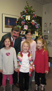 Pictured: (front row – from left) Katherine Ognacevic,  Emma Anderson, and Isabella Anderson  Back Row:  Superintendent Joseph Sheehan and Madeline Ognacevic