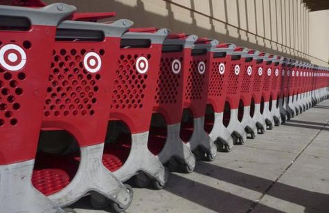 Merchandise baskets are lined up outside a Target department store in Palm Coast, Florida, December 9, 2013. CREDIT: REUTERS/LARRY DOWNING