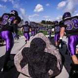 UW Whitewater players before a game in Whitewater, WI