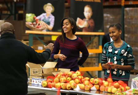 Malia (L) and Sasha (R), daughters of U.S. President Barack Obama and first lady Michelle Obama hand out Thanksgiving food at the Capital Ar