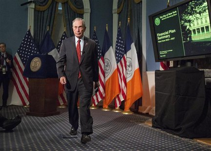 New York Mayor Michael Bloomberg walks from the podium after delivering the 2014 city budget in the Blue Room of New York's City Hall, in th