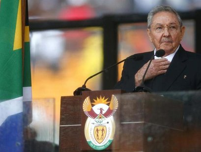Cuban President Raul Castro delivers his speech at the memorial service for late South African President Nelson Mandela at the FNB soccer st