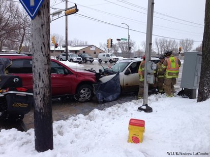 Two vehicles collided at the corner of N. Webster Ave. and University Ave. in Green Bay on Sat, Dec. 21, 2013. (Photo from: FOX 11).