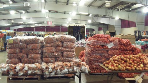 Some things come pre-sorted, like the pallets of fresh onions, potatoes, carrots, cereal, bread, and other donated and purchased goods