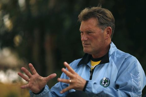 Former England soccer manager and Glenn Hoddle Academy founder Glenn Hoddle gestures during an interview with Reuters at the Academy in Jere