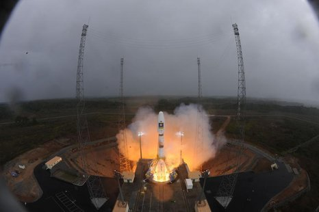 The Soyuz VS01 lifts off carrying the first two satellites in Europe's Galileo global positioning system, at the Guiana Space Center in Sinn