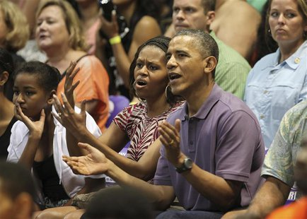 U.S President Barack Obama and first lady Michelle react as they watch the Diamond Head basketball game between Oregon State and Akron durin