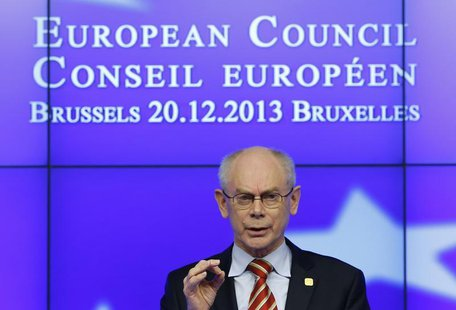 European Council President Herman Van Rompuy speaks at a news conference at the end European Union leaders summit in Brussels December 20, 2