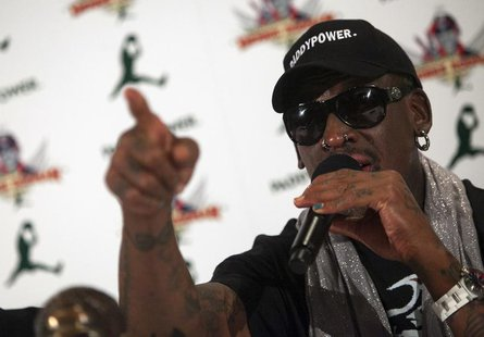 Former NBA basketball player Dennis Rodman speaks at a news conference in New York September 9, 2013. REUTERS/Eric Thayer