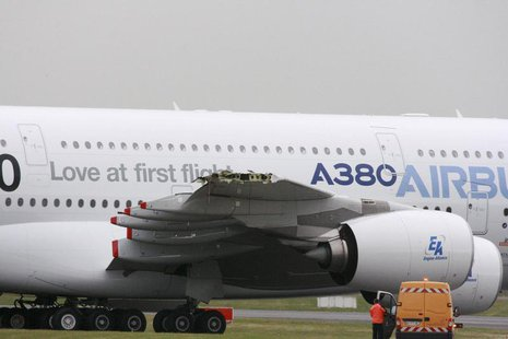 The damaged right-hand wing-tip of Airbus A380, the world's largest jetliner with a wingspan of almost 80 meters, is seen on the tarmac on t