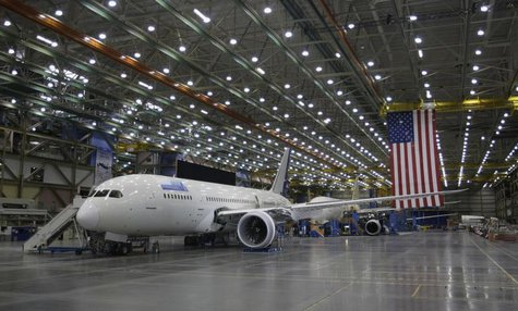 Boeing 787 Dreamliner aircraft are pictured on the production line at the Boeing facility in Everett, Washington February 17, 2012. REUTERS/