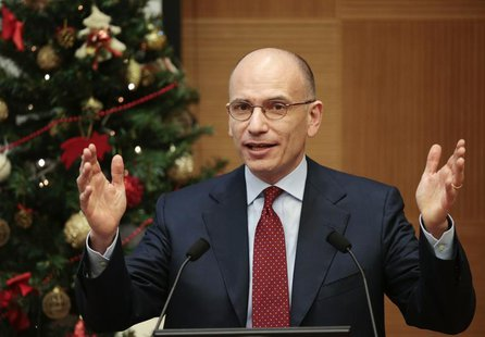 Italian Prime Minister Enrico Letta gestures as he holds a year end news conference in Rome December 23, 2013. REUTERS/Tony Gentile