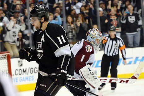 Los Angeles Kings center Anze Kopitar (11) reacts after he scored the winning goal past Colorado Avalanche goalie Semyon Varlamov (1) in the