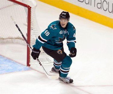 Oct 8, 2013; San Jose, CA, USA; San Jose Sharks center Tomas Hertl (48) reacts after getting a hat trick against the New York Rangers during