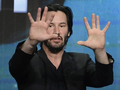 "Host and producer Keanu Reeves participates in a panel for the documentary ""Side by Side"" during the PBS sessions at the Television Critics"
