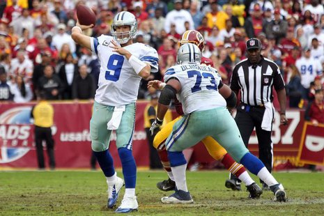 Dallas Cowboys quarterback Tony Romo (9) throws the ball against the Washington Redskins in the second quarter at FedEx Field. Geoff Burke-U