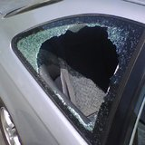 A broken car window