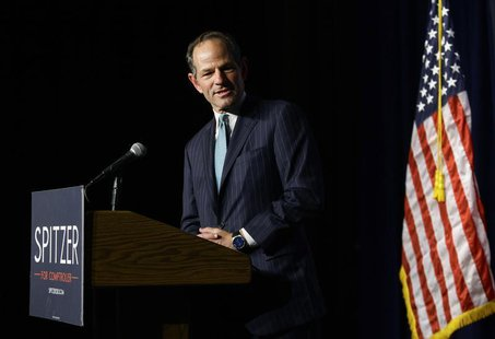 Former New York State Governor and Democratic candidate for New York City Comptroller Eliot Spitzer speaks during his Democratic primary ele