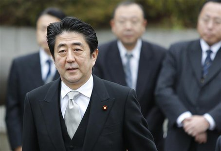 Japan's Prime Minister Shinzo Abe arrives at the controversial Yasukuni Shrine to pay tribute to the war dead, in Tokyo December 26, 2013. R