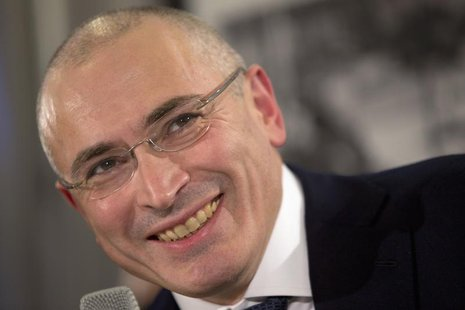 Freed Russian former oil tycoon Mikhail Khodorkovsky attends a news conference in the Museum Haus am Checkpoint Charlie in Berlin, December