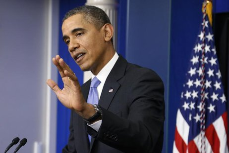 U.S. President Barack Obama addresses his year-end news conference in the White House briefing room in Washington, December 20, 2013. REUTER