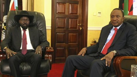 South Sudan's President Salva Kiir meets with Kenya's President Uhuru Kenyatta in the capital Juba December 26, 2013. REUTERS/Hakim George