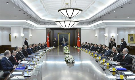 Turkey's President Abdullah Gul (C), flanked by cabinet members (L) and country's top generals, heads the National Security Council meeting