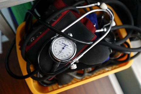 A blood-pressure machine is seen inside a basket with other medical devices at a medical centre of the Greek Delegation of the Doctors of th