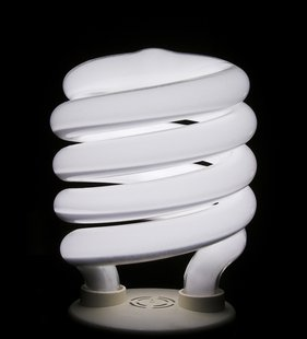A compact fluorescent light bulb.