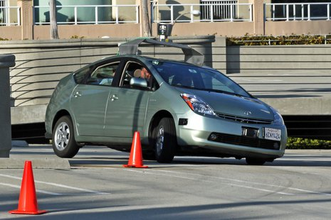 A Toyota Prius modified by Google to be tested as an autonomous vehicle.