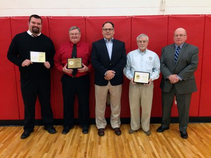 The 2014 Coldwater High School Athletic Hall of Fame induction class, L-R: Aaron Tagert, Tom Sweitzer, and honorary inductees the Coldwater Township Sunrise Rotary Club, represented by Past Presidents Mike Beckwith, Lloyd Walrack, and Bill Renner.