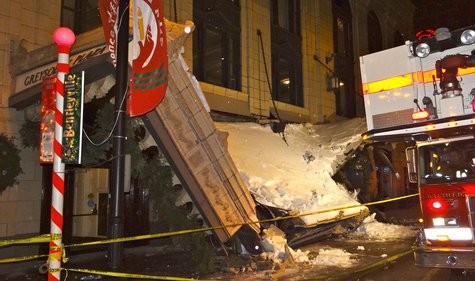 Front awning of the Greysolon Plaza partially collapses Saturday night