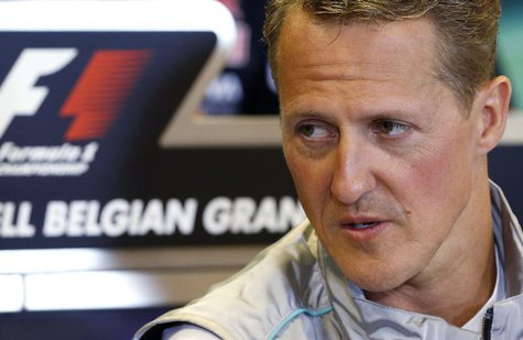 Mercedes Formula One driver Michael Schumacher of Germany addresses a news conference ahead of the weekend's Belgian F1 Grand Prix in Spa Fr