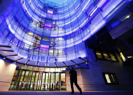 A man enters BBC New Broadcasting House in London November 11, 2012. REUTERS/Luke MacGregor