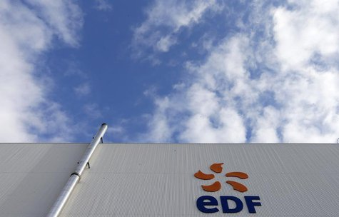 The logo of French state-owned electricity company EDF is seen on the France's oldest nuclear power station of Fessenheim, November 14, 2013
