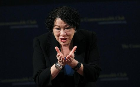 U.S. Supreme Court justice Sonia Sotomayor gestures to the audience after speaking at The Commonwealth Club of California in San Francisco,