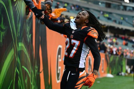 Dec 29, 2013; Cincinnati, OH, USA; Cincinnati Bengals cornerback Dre Kirkpatrick (27) celebrates with fans after defeating the Baltimore Rav