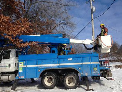 Consumers Crews helped by blue skies and milder conditions as they address the last of the outages in Mid-Michigan. (picture courtesy Consumers Energy)
