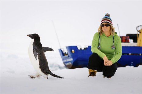 Barbara Tucker, a passenger aboard the trapped ship MV Akademik Shokalskiy looks at an Adelie penguin walking by on the ice off East Antarct