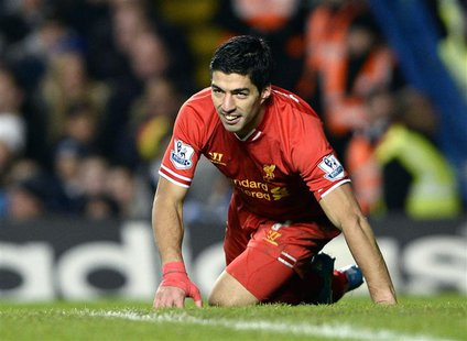 Liverpool's Luis Suarez reacts during their English Premier League soccer match against Chelsea at Stamford Bridge in London, December 29, 2