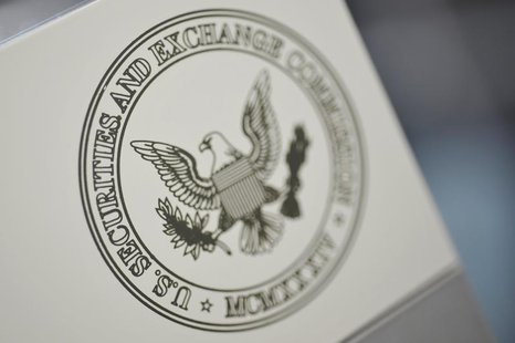 The U.S. Securities and Exchange Commission logo adorns an office door at the SEC headquarters in Washington, June 24, 2011. REUTERS/Jonatha