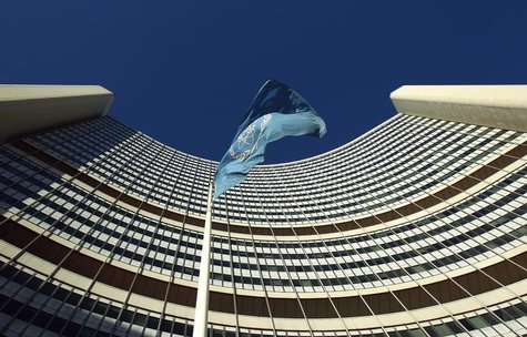 The flag of the International Atomic Energy Agency (IAEA) flies in front of its headquarters during a board of governors meeting in Vienna N